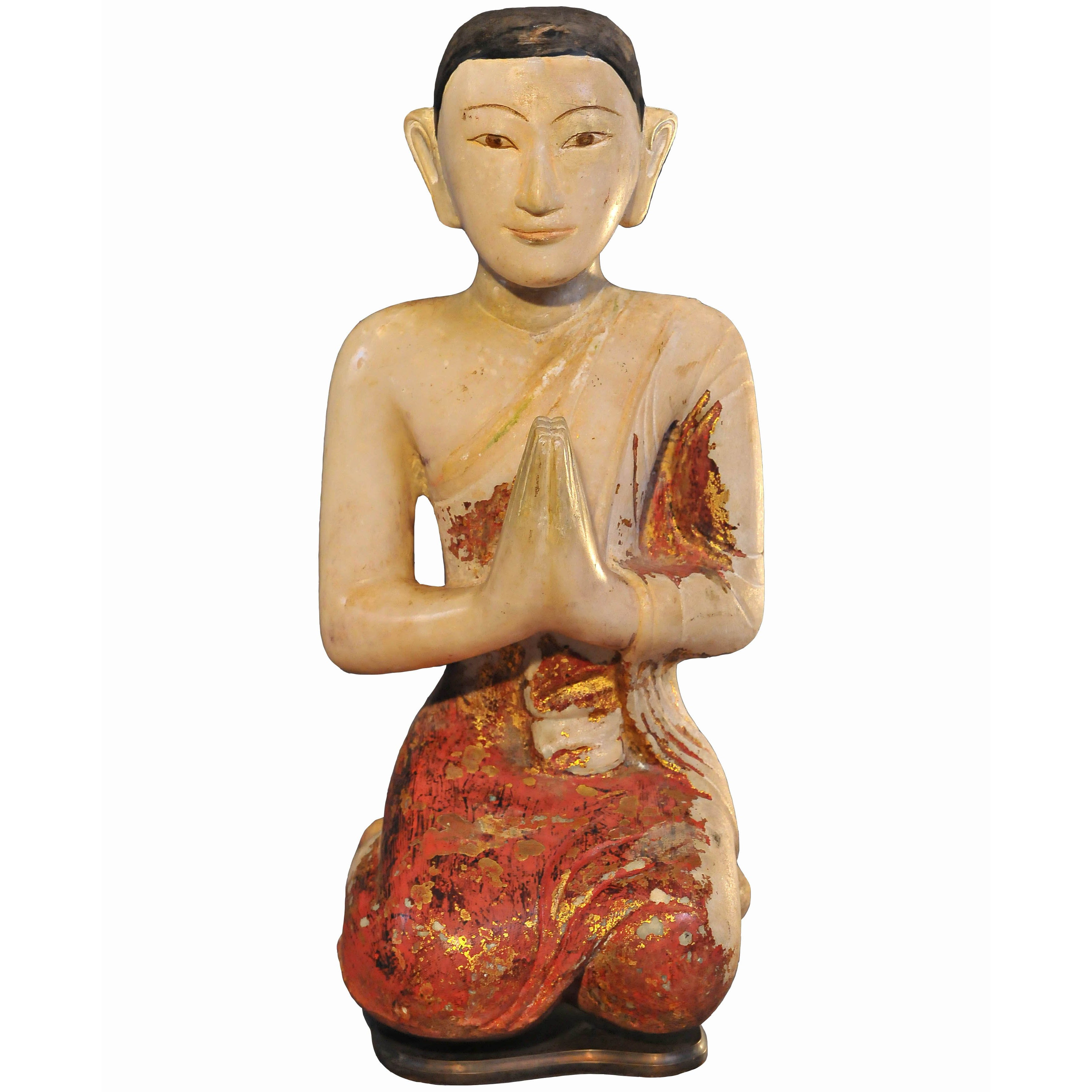 19th Century Alabaster with Lacquer Monk in Anjali Mudra, Mandalay, Art of Burma