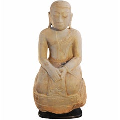 14th Century, Marble Sitting Nun in Anjali Mudra, Pagan Period, Art of Burma