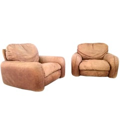 """Pair of Leather Armchairs Model """"Piumotto"""" Produced by Busnelli, Italy, 1970s"""