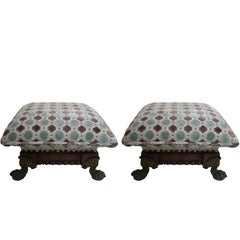 Pair of French Mahogany and Brass Footstools