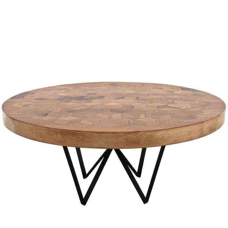 Maurits Round Marquetry Table in Reclaimed Oak from Old Italian Wine Barrels For Sale