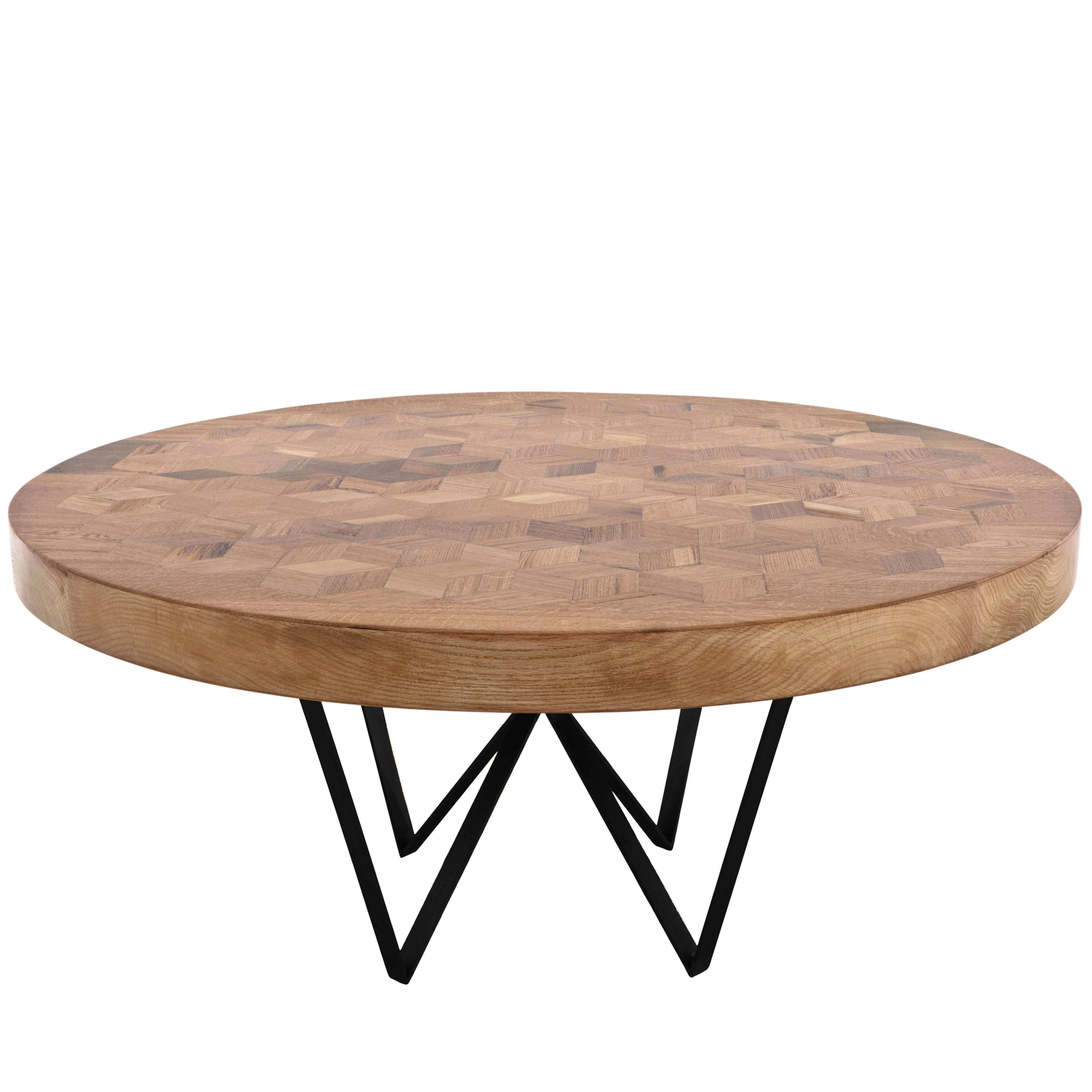 Maurits Round Marquetry Table in Reclaimed Oak with Metal Legs