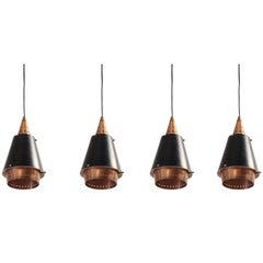 Set of Eight Scandinavian Ceiling Pendants, 1960s