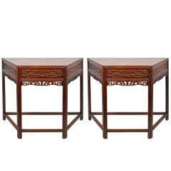 19th Century Pair Chinese Hardwood Console Tables