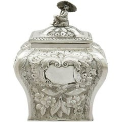 1827 Antique Irish Sterling Silver Tea Caddy