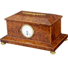 1920s Burr Yew Wood Clock Box