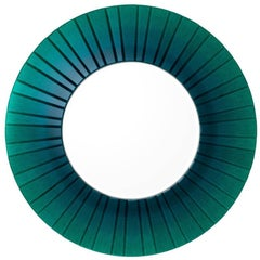 Large Round Green Glass Mirror