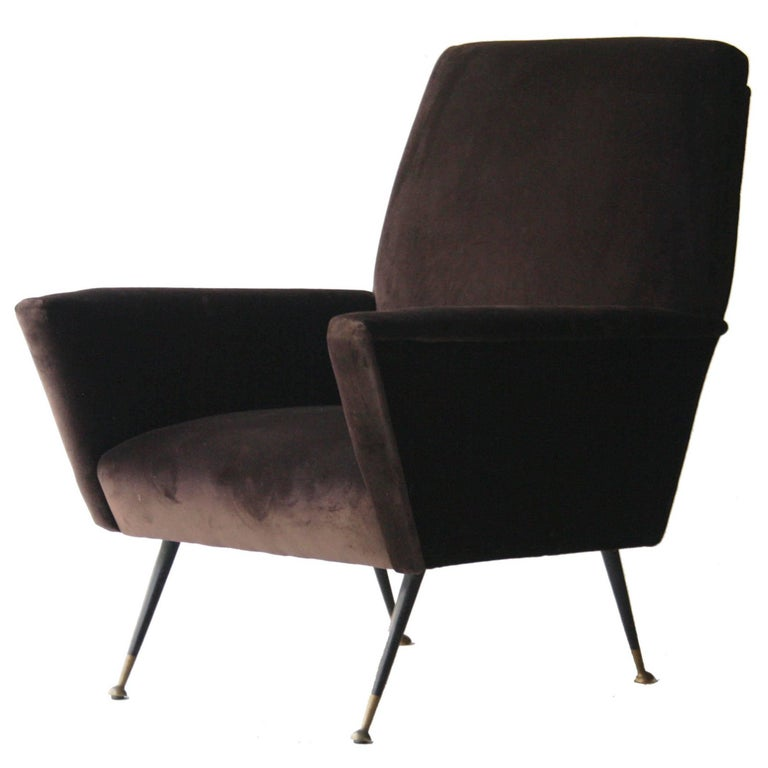 Armchair Upholstered in Brown Cotton Velvet, Italy, 1950