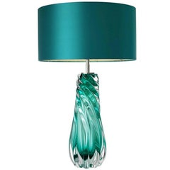 Turquoise Glass Table Lamps with Silk Shades