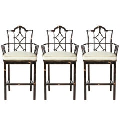 Set of Three Chinese Chippendale Style Stools