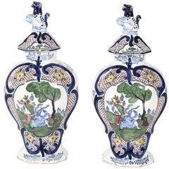 Pair of 18th Century Dutch Delft Vases
