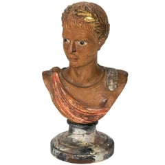 Wood Bust of Roman Boy