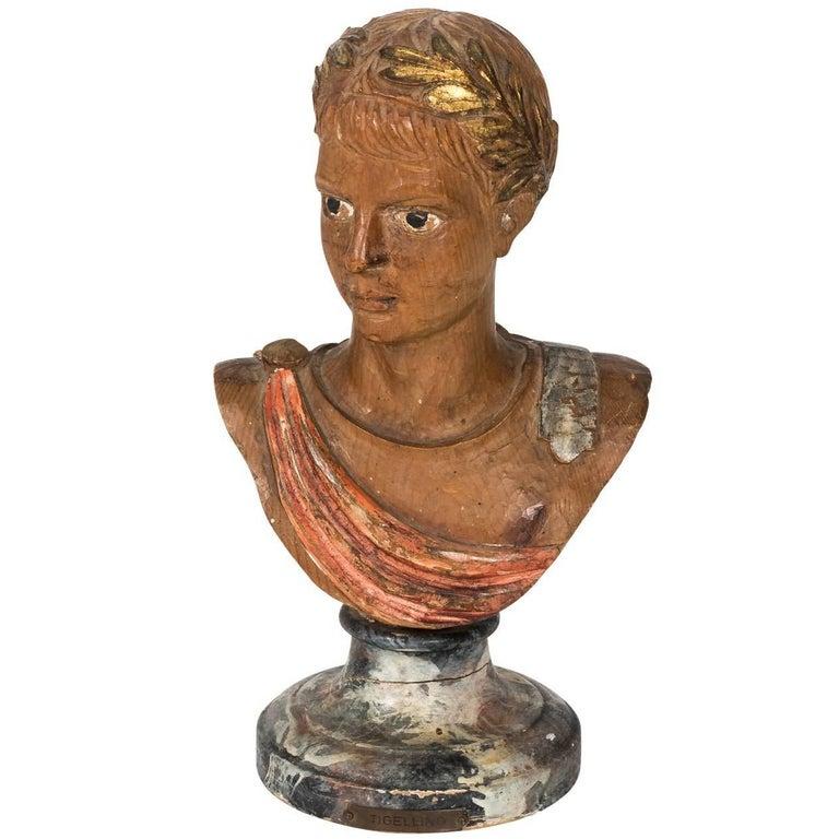 Wood Bust of Roman Boy