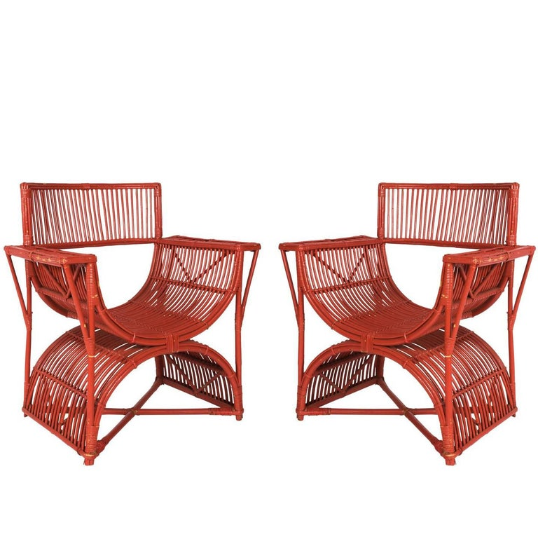 Pair of Rattan Curule Chairs