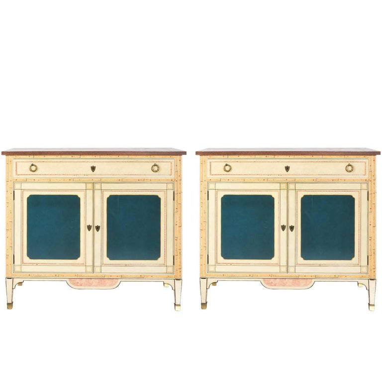 Pair of Faux Painted Console Cabinets