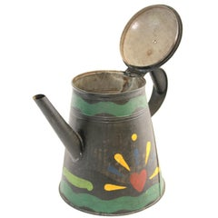 19th Century Painted Tinware Coffee Pot Stamped J. Ketterer