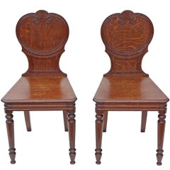Antique Pair of Quality Victorian Oak Hall Chairs Side Bedroom, circa 1900