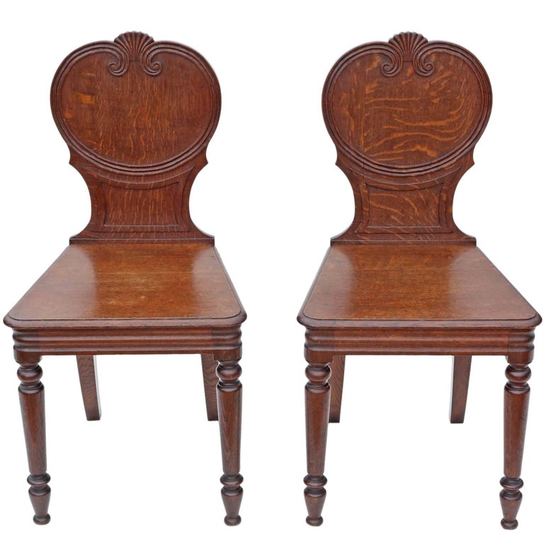 Antique Pair Of Quality Victorian Oak Hall Chairs Side Bedroom Circa 1900 At 1stdibs