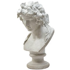 Italian 19th Century Biscuit Bust of Antinous as the God Dionysus