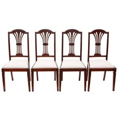 Antique Quality Set of Four Edwardian Mahogany High Back Dining Chairs
