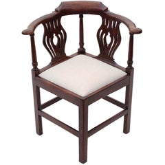Antique Georgian, circa 1810 Mahogany Office Elbow Desk Tub Chair Corner Carver