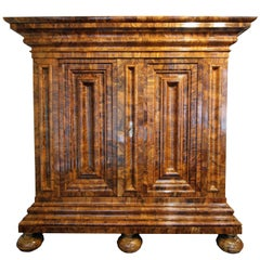 Early 18th Century Baroque Walnut Cabinet called Wellenschrank from Germany