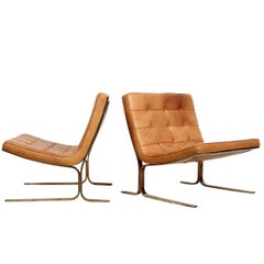 Pair of Leather Lounge Chairs by Nicos Zographos