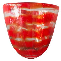 Murano Glass Swirl Red Striped Vase