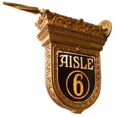 Cast Bronze Double Sided 'Aisle 6' Theatre Sign