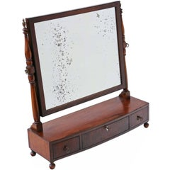 Antique Quality Regency, circa 1825 Mahogany Toilet Swing Dressing Table Mirror