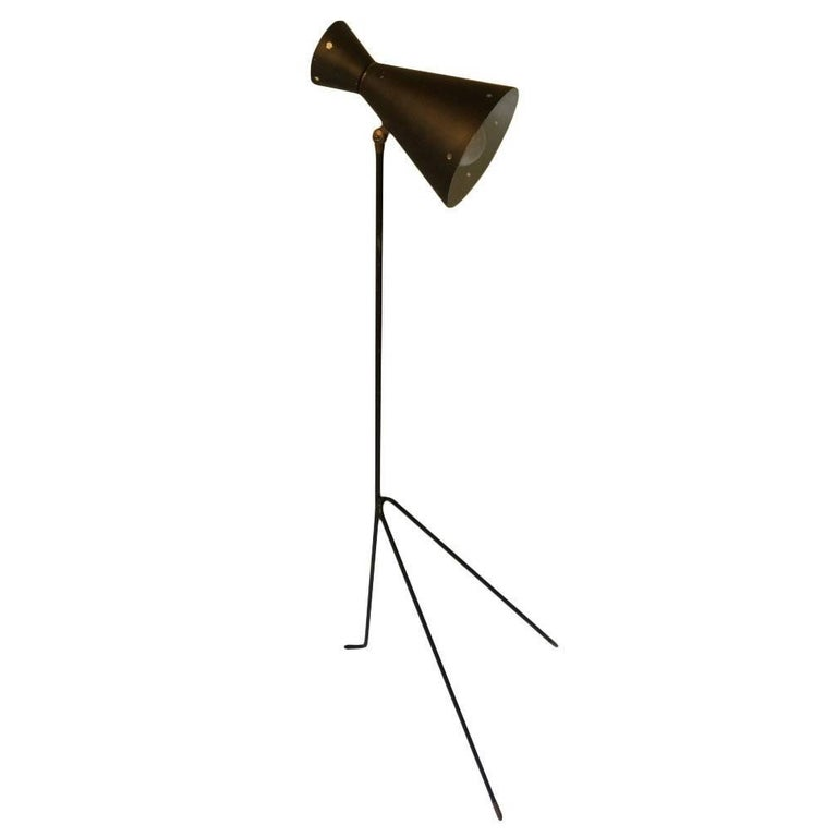 Midcentury Grasshopper Floor Lamp with Adjustable Shade