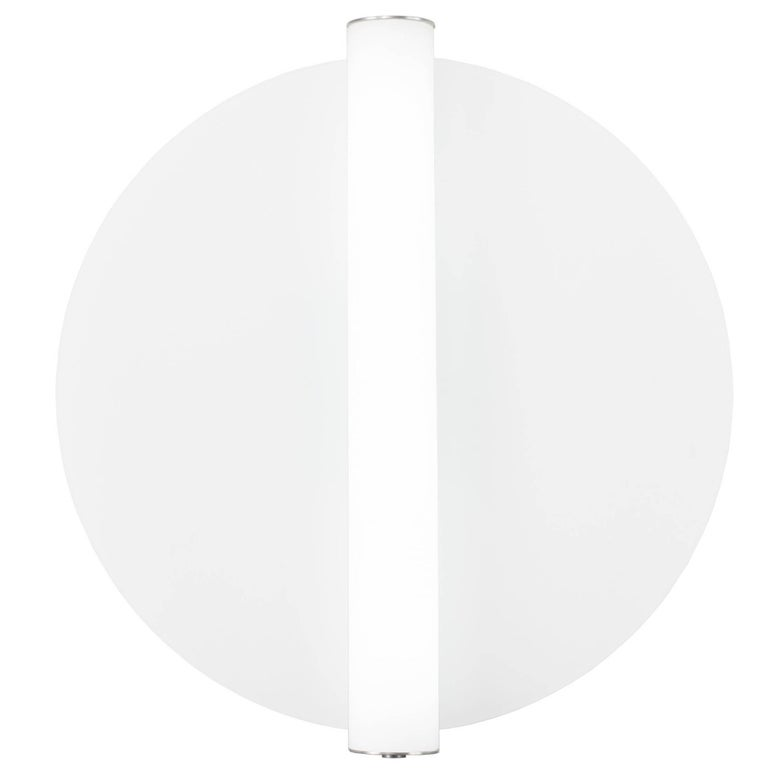 Minimalist Round Glass Wall Sconce with Glass Cylinder in Machined Aluminium For Sale at 1stdibs