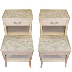 Pair of Louis XV Style Painted Bedside Tables, Two Tiers, Drawer and Marble Top