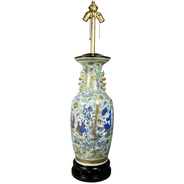 Large Chinese Export Vase Mounted as a Lamp