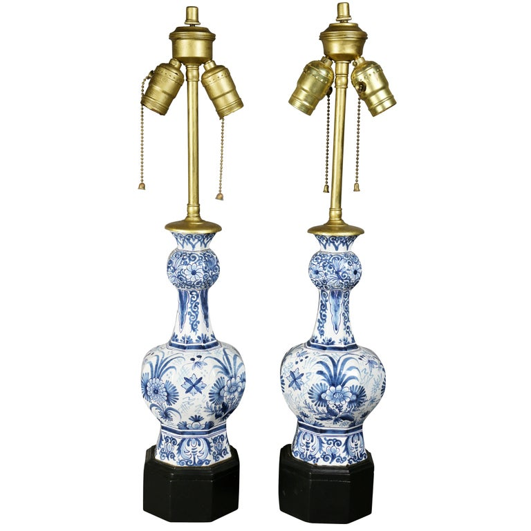 Pair of Delft Pottery Table Lamps