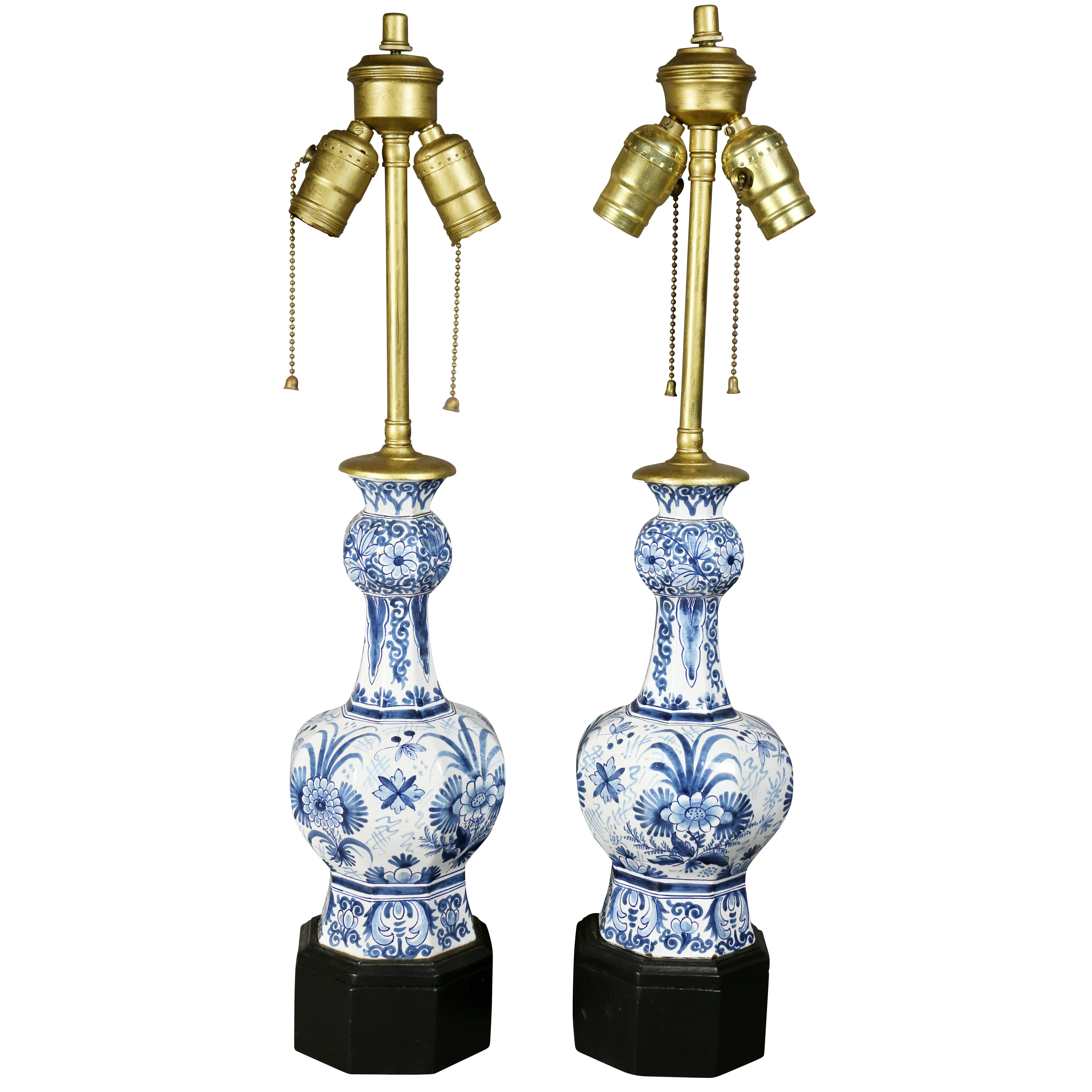 Pair of delft pottery table lamps for sale at 1stdibs arubaitofo Images