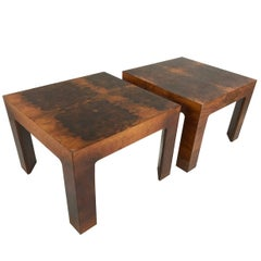Pair of Burl Wood Side Tables in the Style of Milo Baughman