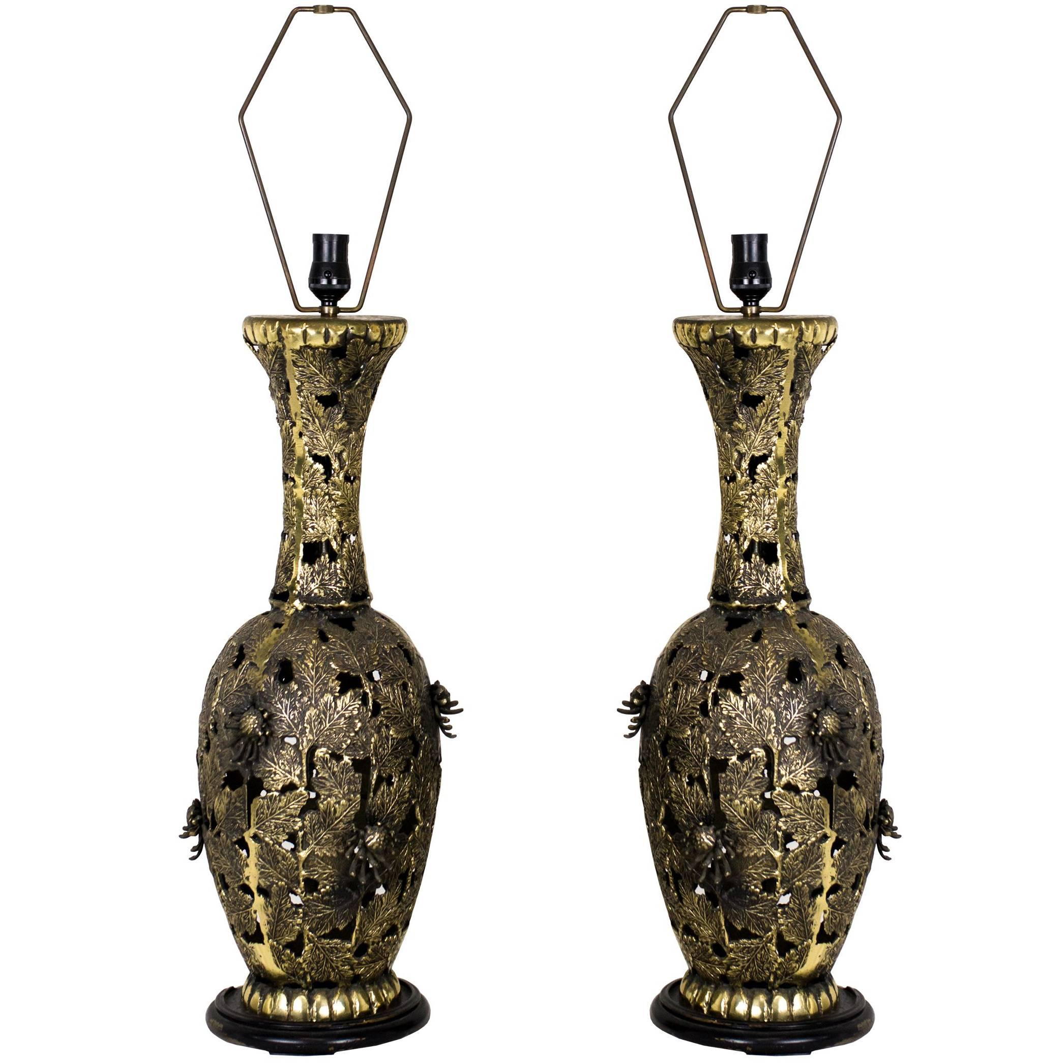 Pair of Bronze Brutalist Style Pierced Table Lamps