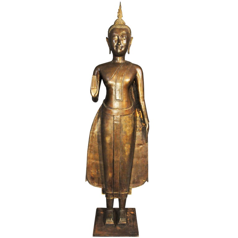 Late 17th Century, Bronze Standing Buddha in Abhaya Mudra, Art of Thailand