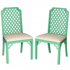 Pair of Lattice Back Oriental Style Chairs