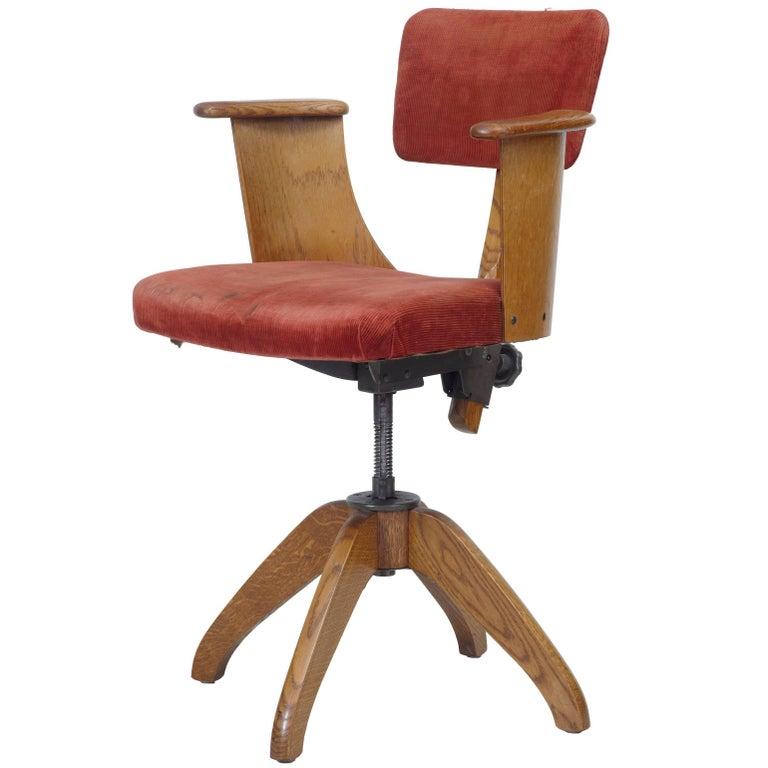 1920s Oak Swivel Office Chair At 1stdibs