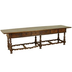 Antique Large Table Walnut Manufactured in Italy 18th Century