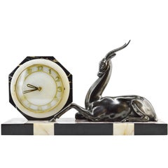 French Art Deco Antelope Clock Sculpture, 1930s