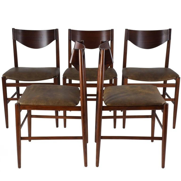 Italian Mid-Century Dining Chairs by Gianfranco Frattini, Set of 5, 1960s  For Sale