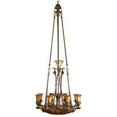 Cast Bronze Nine-Light Chandelier with Steuben Shades