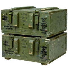 Pair of 20th Century, 1950s Pine Ammo Boxes