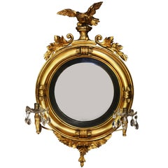 Diminutive Federal or Regency Girandole Mirror with Egyptian Motifs