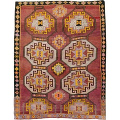 Mid-Century Room Size Turkish Tribal Carpet In Maroon