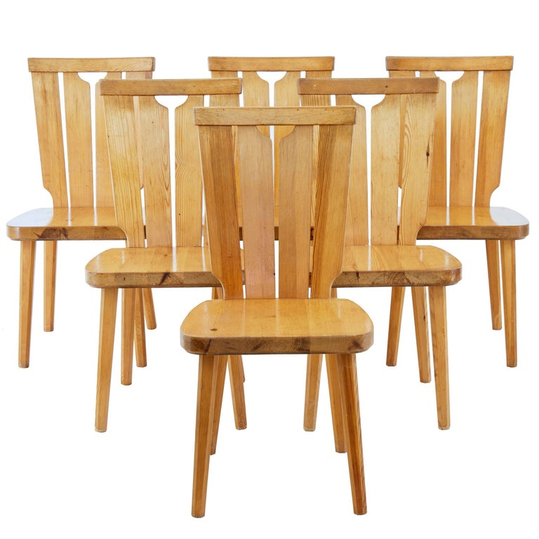 Set of Six Scandinavian Pine Dining Chairs For Sale