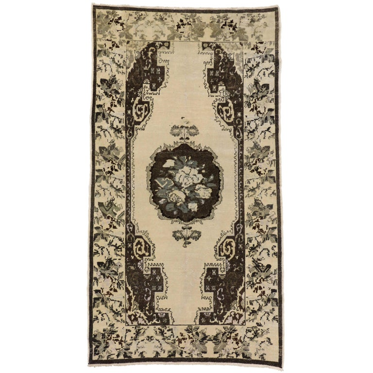 Brown and Cream Vintage Turkish Oushak Rug
